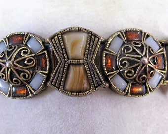 Wonderful Vintage Scottish Agate Glass Bracelet - signed MIRACLE