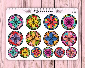 14 Floral Stained Glass Look Circle Stickers S-83 - Perfect for Erin Condren Life Planners / Journals / Stickers.