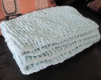 Plush Chenile Aqua Blue Baby Blanket - Hand knitted