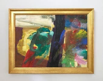 Abstract Expressionism Original Vintage Oil Painting Framed