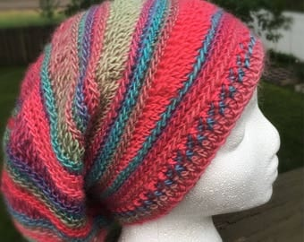 Crocheted Slouchy Hat Multicolored