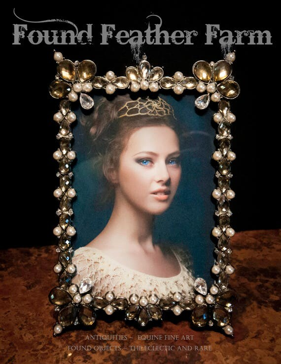 Beautiful Jeweled Photo Frame Embellished with Pearls and Crystals