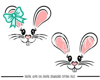 Bunny Rabbit Face Easter svg / dxf / eps files. Digital download. Compatible with Cricut and Silhouette machines. Small commercial use ok.