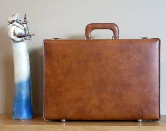Airway Briefcase In Cognac Leather With Brass Hardware -VGC