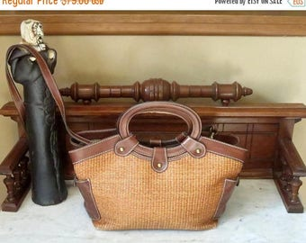 Back To School Sale Fossil Tote In Beige Wicker And Brown Leather Trim With Oval Handles And Cross Body Strap - VGC