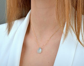 Raw Aquamarine necklace, Rustic March Birthstone, Raw Crystal Necklace, Rough Blue Gemstone Necklace: 14K Rose Gold Filled Sterling Silver