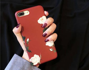 burgundy red Floral case White Rose vintage iphone case iphone 7 plus iphone 6s 6 plus cover IMD soft case