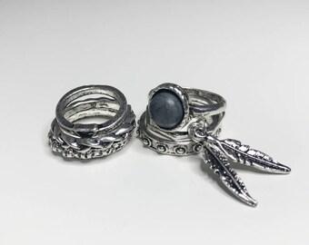 Rings Set (7 PCS) : Vintage Bohemian Silver Rings