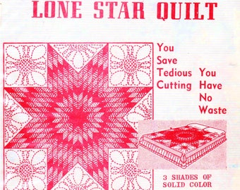 "Vintage Aunt Martha's Quilt Kit LONE STAR QUILT Ships Free Shades of Pink Quilt Top Kit 100% Cotton Quilt 72"" Square Quilt Pre-Cut Quilt Kit"