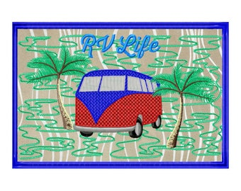 Camper Embroidery Design - In The Hoop Embroidery Project - RV Pattern - ITH Embroidery Design - PDF Pattern - Mug Rug Pattern - Ith Pattern