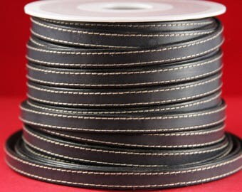 """MADE IN SPAIN 24"""" flat stitched leather cord, gray 10mm flat leather cord, 10mm stitched leather cord (240/10/40)"""