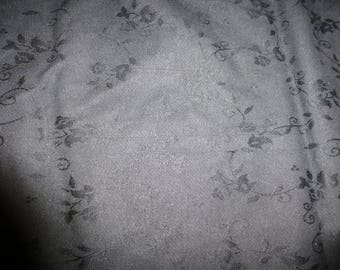 NO. 86-FABRIC COTTON DAMASK STRETCH - BLACK PATTERNED FLOWERS
