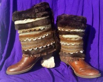 Boho fuzzy boot covers~Boho Winter boots~Boho ski boot~Boho hippy gypsy~ Boho Shabby chic~Solstice