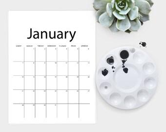 2018 Calendar Printable, 12 Month Calendar, Simple Desk Calendar, Printable Calendar Pages, Downloadable Wall Calendar, Clipboard Calendar