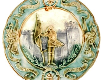 "Antique french majolica plate ""Jeanne d'Arc, Joan of Arc"", french collectible, decorative plate"
