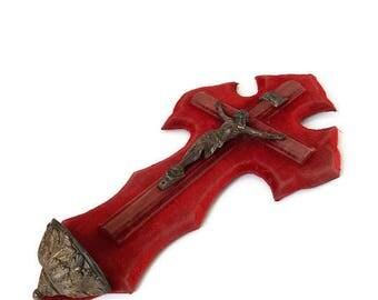 antique velvet crucifix, religious holy water font, catholic wall cross, antique velvet stoup