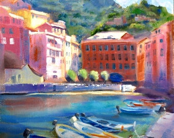 Boats Painting, Cinque Terre Oil Painting, Harbor Landscape, Italian Coast Oil Painting, Italy, Original Oil Painting by Sue Whitney 10 x 10