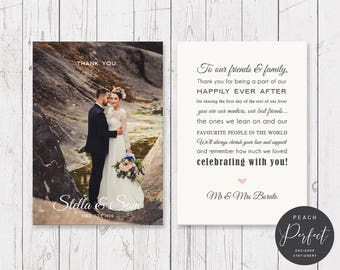 Wedding Thank Your Cards, Photo Thank You Cards, Free Colour Changes, Professionally Printed - Peach Perfect Australia