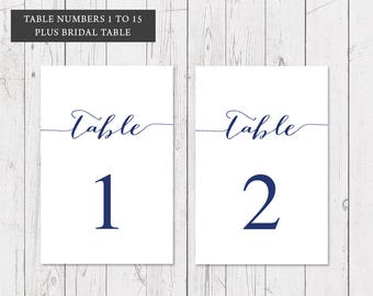 ON SALE, Navy Blue Modern Wedding Table Numbers, Professionally Printed 5x7inch, Peach Perfect Australia