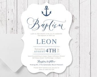 Boy Baptism Christening Invitations, Navy Blue Nautical Boat and Anchor, Large A5 Size Die Cut Scallop Shape, Professionally Printed