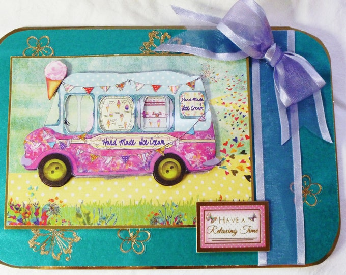 Ice Cream Van, 3D Decoupage Card, Greeting Card, Birthday Card, Female, Any Age, Young Teenager, Sister, Daughter, Niece, Cousin