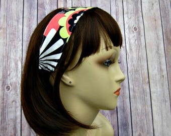 Reversible Headband - Headband for Women - Adult Headband - Womens Headband - Handmade Fabric Headband - Black Floral and Arrow
