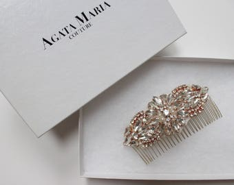 Rose Gold Crystal and Pearl Bridal Comb