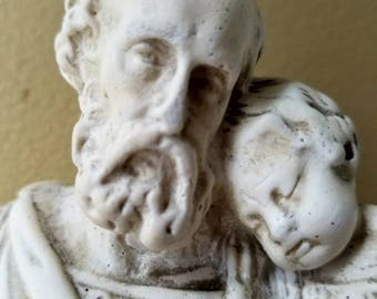 Lovely vintage statue of infant Jesus and St. Joseph.....aged look.....ceramic......Highly detailed.
