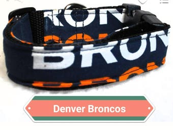 "Denver Broncos Dog Collar, 1"" & 1.5"" Inches Wide, Large Dog Collars, Small Dog Collars, Dog Collars"