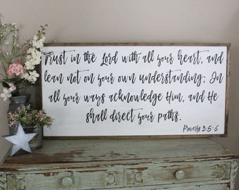 Trust In The Lord Wood Sign Inspirational Proverbs 35 6 Scripture