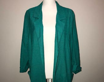 Vintage 80's Teal Blazer / size large / by Joanna