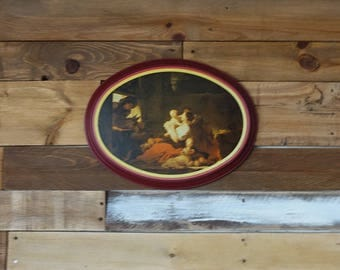 """Vintage Wall Hanging Tin - Fine Art Reproduction - """"The Happy Family"""" - by Fragonard"""