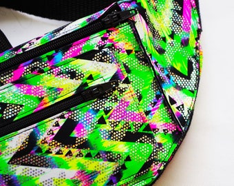 Neon Green and Pink Chevron Festival Burning Man Fanny Pack Bum Bag with Holographic Sparkle