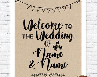 Rustic Vintage Shabby Chic Wedding A4 Personalised Print - Welcome to the Wedding