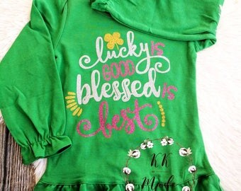 St Patrick's day shirts, girls St Patrick's day shirts, baby girl at Patrick's day shirt, monogrammed St Patrick's day shirt, clover shirt
