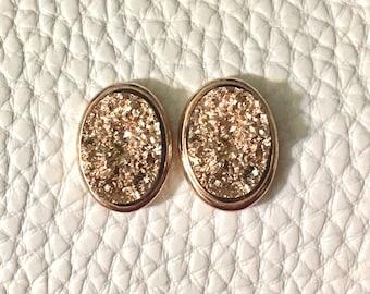 Copper & Gold oval Druzy Studs, 16mm druzy gold, gold earrings, druzy earrings, gold druzy, druzy jewelry, gold jewelry, stud earrings