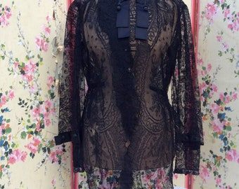 Vintage Antique Late Victorian Lace Over Blouse with Bead Buttons