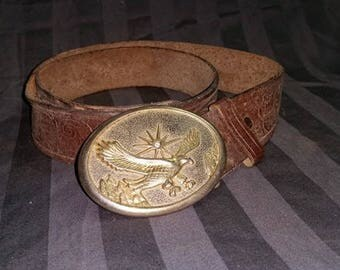 Vintage Eagle Belt Buckle With Diamond Chip On  Leather Belt.