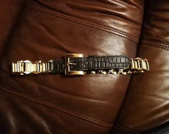 Vintage gold and leather belt, Gold Chain Black Leather Belt,  Leather Belt, Size 85,