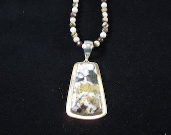 Sterling silver white orbicular Jasper pendant