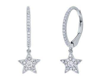 Unique 0.23ct 14k White Gold Diamond Star Earring, Flirty Feminine Star Earrings