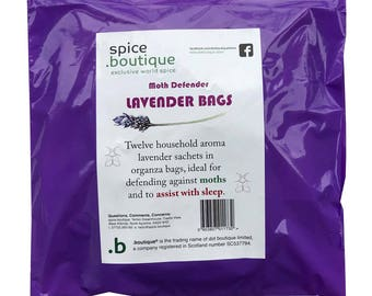 spice.boutique 12 LAVENDER Bags Moth Repellent Sleep Assisting Natural Household Aroma