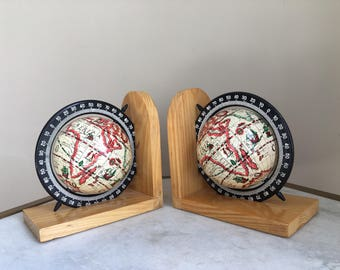 Vintage Pair Of Globe Bookends, Black & Light Maple.