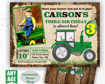 Tractor Birthday Invite, Tractor Invitation Tractor Invitations Woodland Rustic Wood Invite Digital File Green Yellow Photo Photograph BDT27