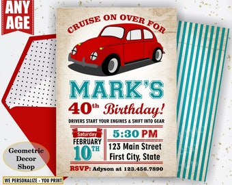 VW car birthday invitation adult 30th 40th 50th 60th 70th 80th cars party invite 1st invite vintage race car first Photo Photograph BDCar8