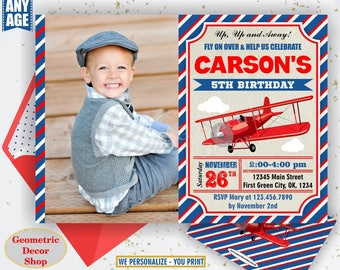 Airplane Boy First 1st Birthday Invite Invitation Clouds Plane Antique Rustic Blue White Cute Unique Vintage Time Flies Sky Aeroplane Navy 1