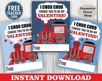 Instant Download / Train / choo / chugga / Valentine / Card / Valentines / red / blue / Valentine's Day / Tags / teacher / Kids /VCard17