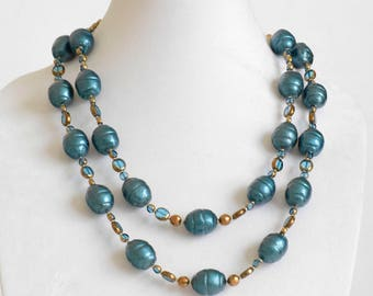 Teal Medly: 2 strand neck;ace and earrings
