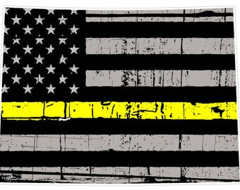 Colorado State (E8) Thin Yellow Line Dispatch Vinyl Decal Sticker Car/Truck Laptop/Netbook Window