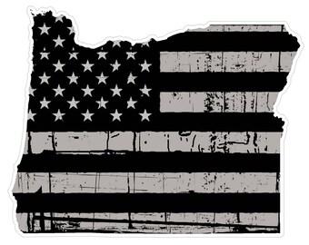 Oregon State (N38) Distressed Flag Vinyl Decal Sticker Car/Truck Laptop/Netbook Window